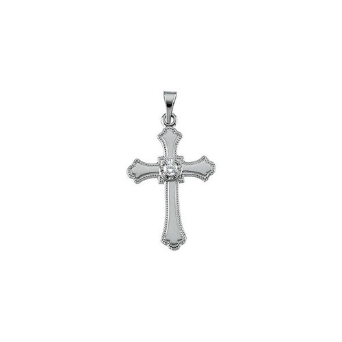14kt White Gold  21x15mm Diamond Cross Pendant