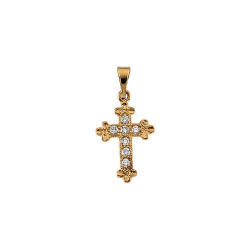 14kt Yellow Gold  Gold 14x10 Diamond Cross Pendant