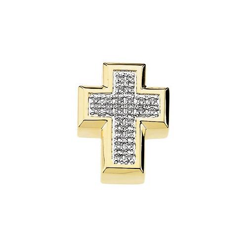 14kt Yellow Gold  .23 Ct Tw Diamond Cross Pendant