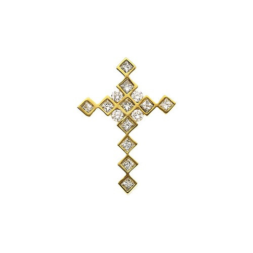 14kt Yellow Gold  .66 Ct Tw Diamond Cross Pendant