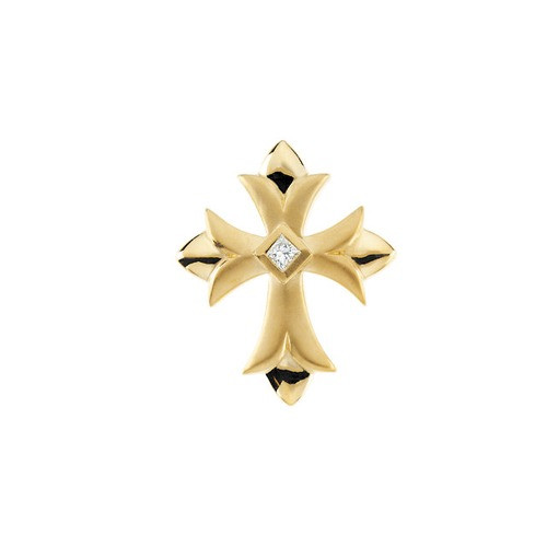 14kt Yellow Gold  Gold 1/10 CTW Cross Pendant with Diamond