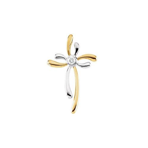 14kt Yellow Gold  & White 1/10 CTW Diamond Cross Pendant