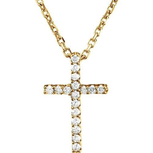 "14kt Yellow Gold  .085 CTW Diamond Cross 16"" Necklace"