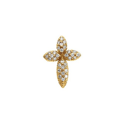 14kt Yellow Gold  .29 Ct Tw Diamond Cross Pendant
