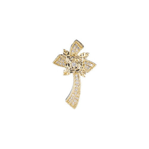 14kt Yellow Gold  1/6 Ct Tw Floral Style Diamond Cross Pendant