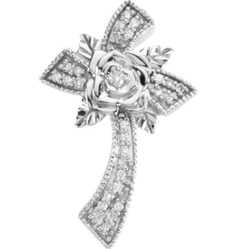 14kt White Gold  1/6 Ct Tw Floral Style Diamond Cross Pendant