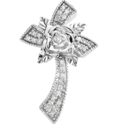 14kt White Gold  1/6 Ct Tw Floral Style Diamond Cross Pendant