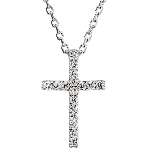 "14kt White Gold  .085 CTW Diamond Cross 16"" Necklace"