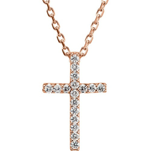 "14kt Rose Gold  .085 CTW Diamond Cross 16"" Necklace"