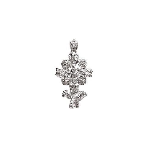 14kt White Gold  .14 Ct Tw Floral Style Diamond Cross Pendant