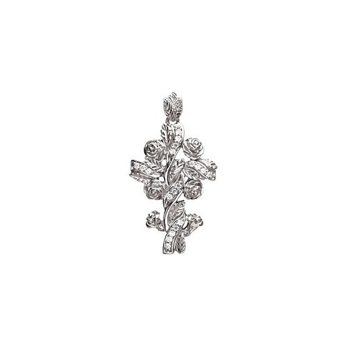 14kt White Gold  .14 Ct Tw Floral Style Diamond Cross Pendant