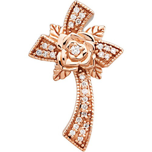 14kt Rose Gold  1/6 Ct Tw Floral Style Diamond Cross Pendant