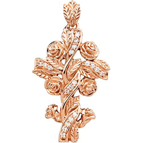 14kt Rose Gold  .14 Ct Tw Floral Style Diamond Cross Pendant
