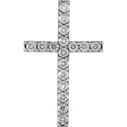 14kt White Gold  1 CTW Petite Diamond Cross Pendant
