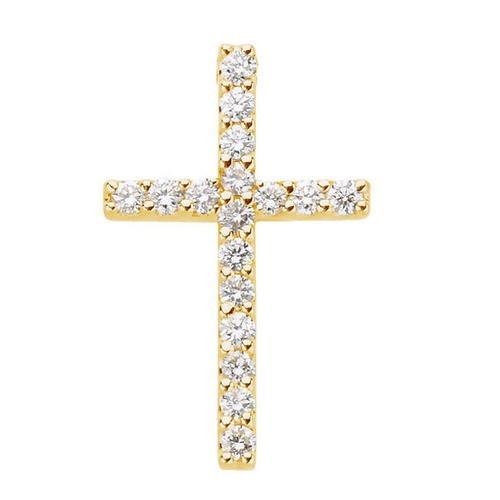 14kt Yellow Gold  1/6 CTW Petite Diamond Cross Pendant