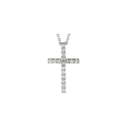 "14kt White Gold  1/6 CTW Petite Diamond Cross 18"" Necklace"