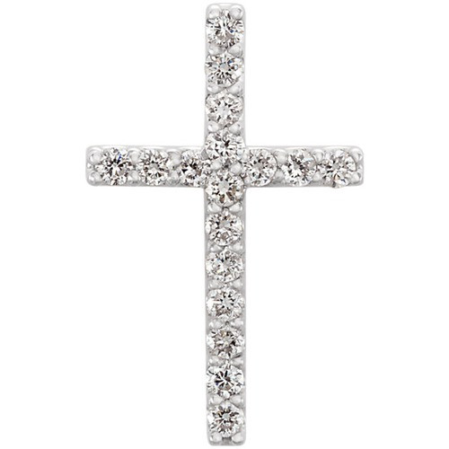 14kt White Gold  1/6 CTW Petite Diamond Cross Pendant
