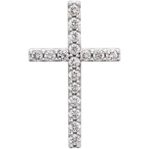 14kt White Gold  1/3 CTW Petite Diamond Cross Pendant