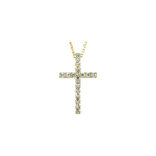 "14kt Yellow Gold  1/3 CTW Petite Diamond Cross 18"" Necklace"