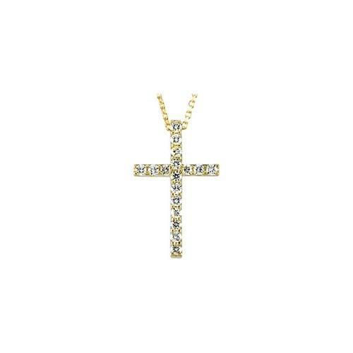 "14kt Yellow Gold  1/4 CTW Petite Diamond Cross 18"" Necklace"