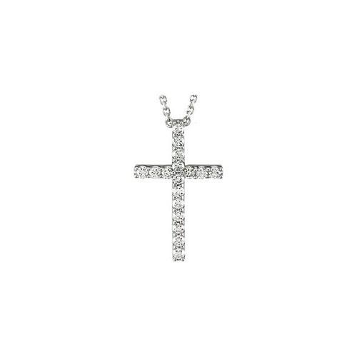 "14kt White Gold  1/4 CTW Petite Diamond Cross 18"" Necklace"