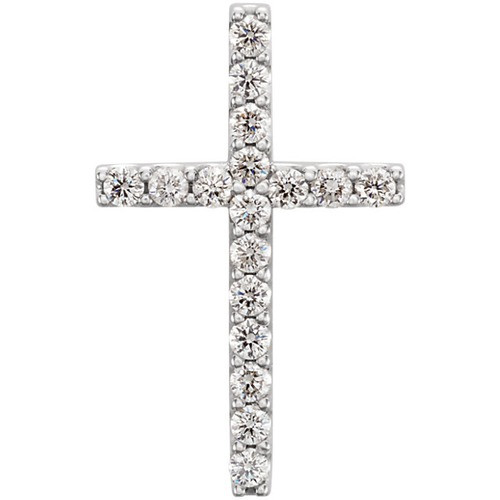 14kt White Gold  1/4 CTW Petite Diamond Cross Pendant