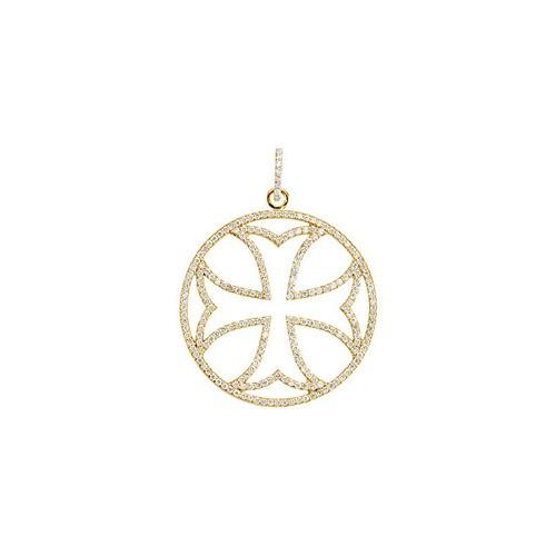 14kt Yellow Gold 1 1/8 CTW DIAMOND MALTESE CROSS