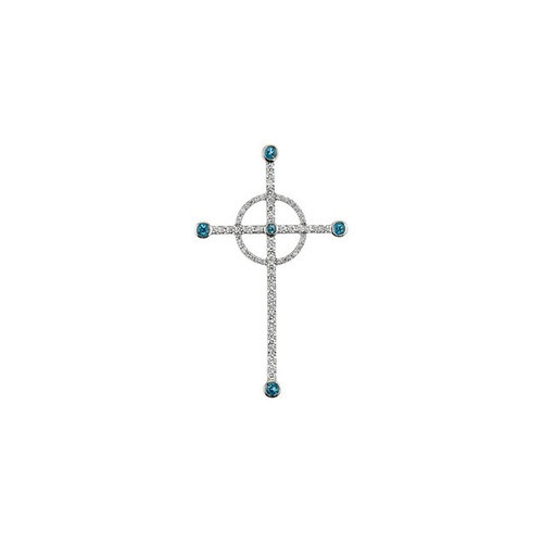14kt White Gold  Swiss Blue Topaz & 1/2 CTW Diamond Cross Pendant