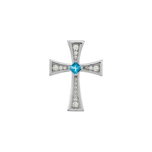 14kt White Gold  Gold Diamond and Genuine Swiss Blue Topaz Cross