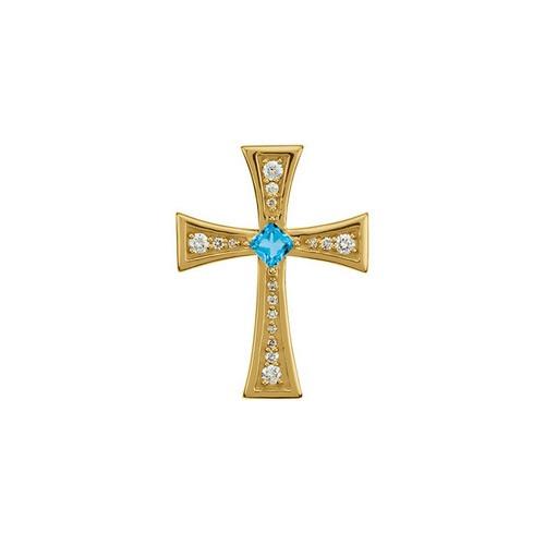 14kt Yellow Gold  Gold Diamond and Genuine Swiss Blue Topaz Cross