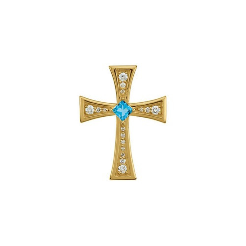 14kt Yellow Gold  Gold Diamond and Genuine Swiss Blue Topaz Cross