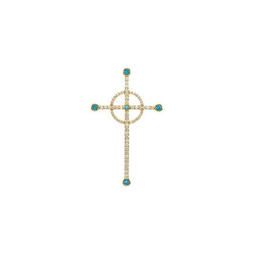 14kt Yellow Gold  Swiss Blue Topaz & 1/2 CTW Diamond Cross Pendant
