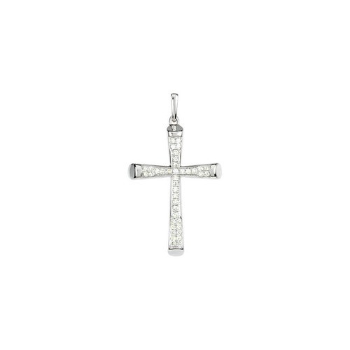 14kt White Gold  Gold 1/4 CTW Diamond Micro Pave Cross