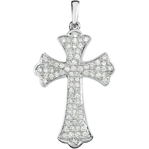 14kt White Gold  Gold 1/2 CTW Diamond Micro Pave Cross