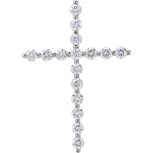 14kt White Gold 1/3 CTW Diamond Cross Pendant 1.24 Grams