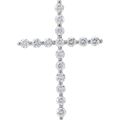 14kt White Gold 1/3 CTW Diamond Cross Pendant 1.24 Grams