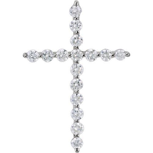 14kt White Gold 1/4 CTW Diamond Cross Pendant .86 Grams