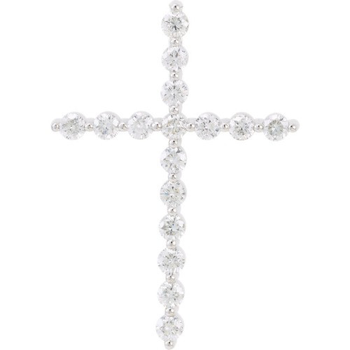 14kt White Gold 3/4 CTW Diamond Cross Pendant 2.44 Grams