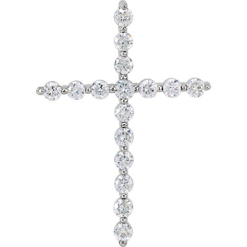 14kt White Gold  1.00 CTW Diamond Cross Pendant