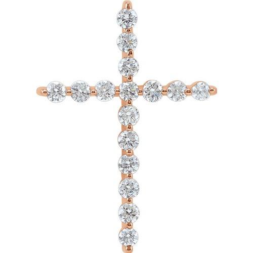14kt Rose Gold 1/4 CTW Diamond Cross Pendant