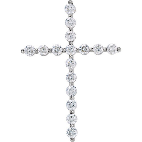 14kt White Gold 1 1/4 CTW Diamond Cross Pendant 2.89 Grams