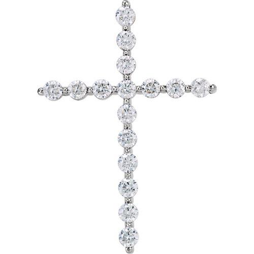 14kt White Gold 1 1/4 CTW Diamond Cross Pendant 2.89 Grams