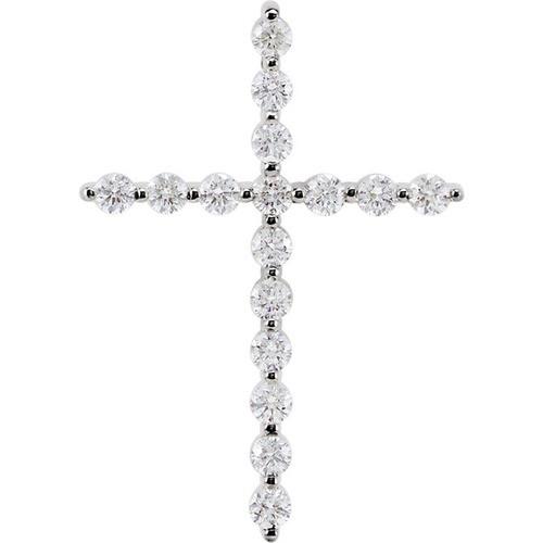 14kt White Gold 1/2 CTW Diamond Cross Pendant 1.75 Grams