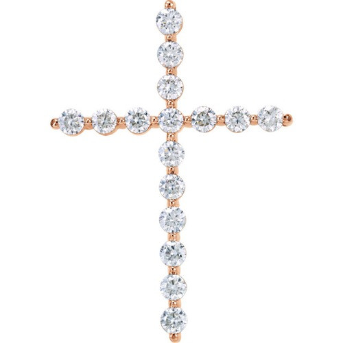 14kt Rose Gold 1 1/4 CTW Diamond Cross Pendant 2.98 Grams
