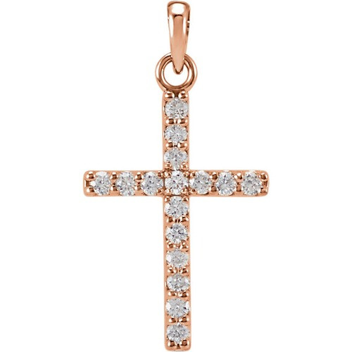 14kt Rose Gold 1/4 CTW Diamond Cross Pendant 0.72 Grams