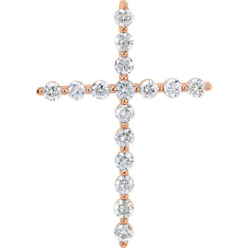 14kt Rose Gold 1 CTW Diamond Cross Pendant 2.88 Grams