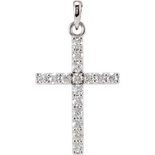 14kt White Gold 1/3 CTW Diamond Cross Pendant 1.02 Grams