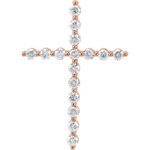 14kt Rose Gold 3/4 CTW Diamond Cross Pendant 2.51 Grams