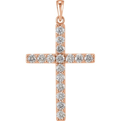 14kt Rose Gold 1/3 CTW Diamond Cross Pendant 1.05 Grams