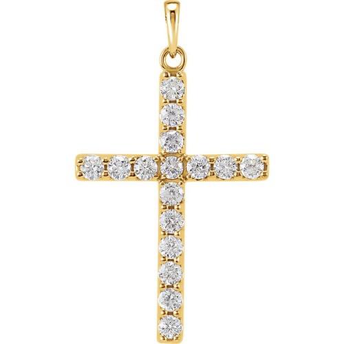 14kt Yellow Gold 1/4 CTW Diamond Cross Pendant 0.72 Grams